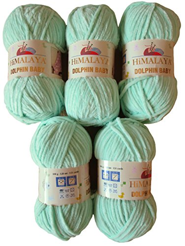 5 x 100 Gramm Babywolle mint grün 80307, 500 Gramm Wolle Super Bulky zum Stricken und Häkeln