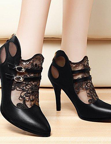 WSS 2016 Chaussures Femme-Bureau & Travail / Décontracté / Soirée & Evénement-Noir-Talon Aiguille-Talons-Chaussures à Talons-Dentelle black-us6.5-7 / eu37 / uk4.5-5 / cn37
