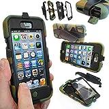 Coque Protection Robuste Usage Survivant Antichoc Robuste pour iPhone 3 3G 3GS - Apple iPhone 5S / 5, Camouflage / Armée