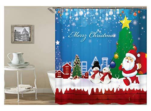 Aeici Duschvorhang Santa Schneemann Weihnachtsbaum Badvorhang 3D Polyester Bad Vorhang Bunt 150X200Cm