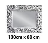 Lnxp Wandspiegel 100x80 cm in Silber Antik Barock Repro Shabby Vintage Glamour Spiegel Woe