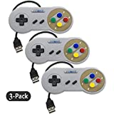 Exlene 3 Pack Retro USB SNES Super Nintendo Game Controller Gamepad Joystick für Windows PC / MAC