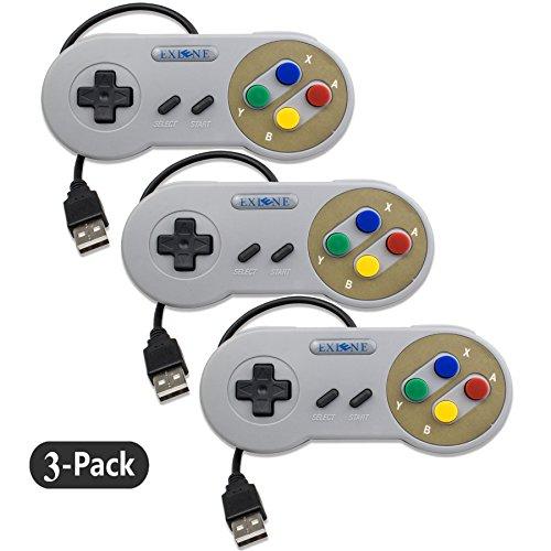 Exlene® 3 Pack Retro USB SNES Super Nintendo Juego Controlador Gamepad Joystick para Windows PC / MAC