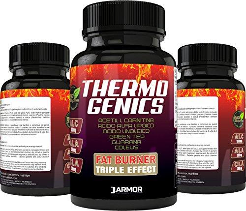 Suplemento dietético J.ARMOR BIO3ACTIVE Thermogenics 100 cps Fat Burner Thermogenic Slimming Triple efecto con ALC acetilo L caritina 1000 mg, ALA ácido alfa lipoico 300 mg, CLA ácido linoleico 300 mg, té verde 300 mg, guaraná 100 mg, Coleus 20 mg (por dosis) Fórmula fuerte