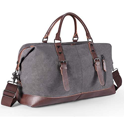 Aicehome Reisetasche Herren,Weekender Canvas 52L Segeltuch mit PU-Leder Verstellbarer Schultergur für Reise am Wochenend Urlaub Grau