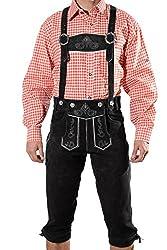 Trachten Lederhose Kniebundhose mit Trägern aus feinstem Veloursleder in schwarz, Bayrische Trachtenlederhose für das Oktoberfest, Schwarz, 56 (BW 102-106 cm)