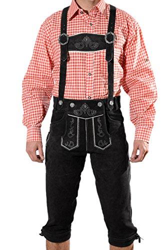 Trachten Lederhose Kniebundhose mit Trägern aus feinstem Veloursleder in schwarz, Bayrische Trachtenlederhose für das Oktoberfest Größe 50