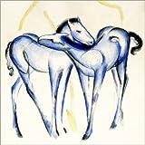 Posterlounge Leinwandbild 30 x 30 cm: Zwei Blaue Pferde von Franz Marc/ARTOTHEK - fertiges Wandbild, Bild auf Keilrahmen, Fertigbild auf Echter Leinwand, Leinwanddruck