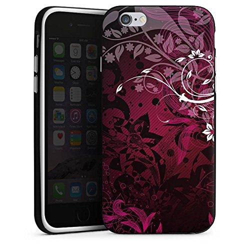 Apple iPhone X Silikon Hülle Case Schutzhülle Blumen Floral Ranken Silikon Case schwarz / weiß