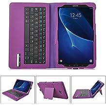 IVSO Funda de Cuero con Teclado Bluetooth para Samsung Galaxy Tab A 10.1 2016 T580N/T585N Tablet - con Removable Keyboard(Púrpura)