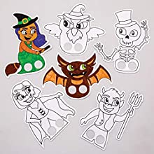 Baker Ross AW868 Colour in Finger Puppets, Perfect for Pretend Play This Halloween, Story Telling, Dress Up, Party Games and More (Pack of 24), Assorted