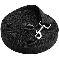 UEETEK Correa de Perro Mascota en Nylon Mascota Adiestramiento Cuerda Ajustable 15m 50 Pies Negro