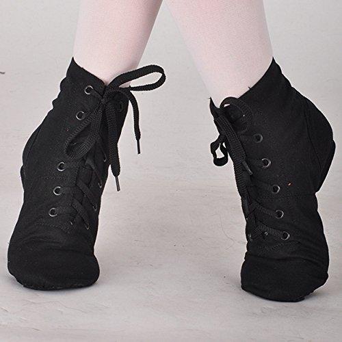 SODIAL(R) I migliori tacchi di balletto di balletto di jazz di tela di canapa di jazz hanno diviso i tacchi alti morbidi del nero per gli uomini Donne DS002-4 Nero