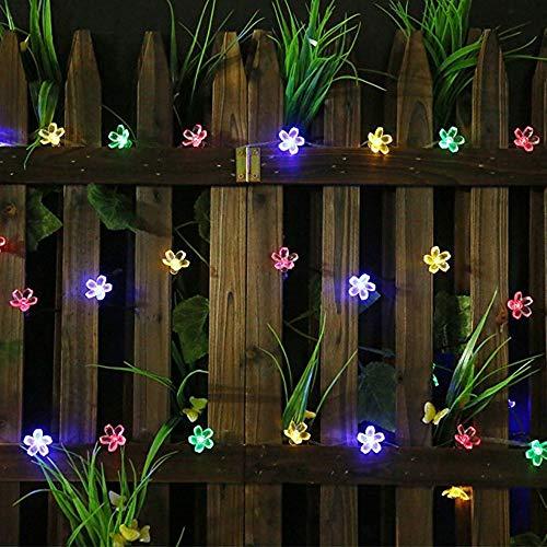 Led Solar Lichterkette Blüten, (7M) 50 LED Wasserdicht Weihnachtsbeleuchtung Außen für Garten, Bäume, Terrasse, Weihnachten, Hochzeiten, Partys, Innen- und (Mehrfarbig)