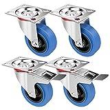 Yaheetech 8 x Transportrollen 100mm Lenkrollen Wheel Schwerlastrollen Bremse Möbelroll Blue Wheels