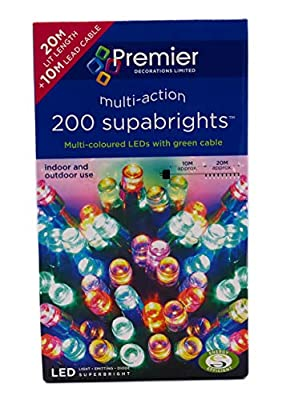 Premier Multi-Coloured 200 LED Christmas Lights Supabrights