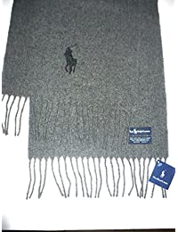 Polo Ralph Lauren Unisex Adult 100% Lambs Wool Charcoal Gray/Black Pony Scarf