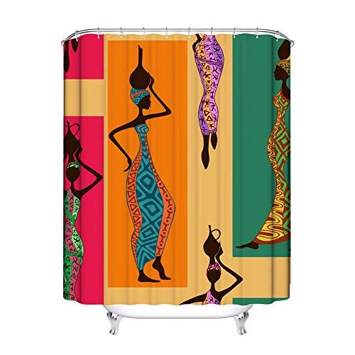 Bigcardesigns Duschvorhang mit Haken, Weihnachtsdesign, afrikanische Frau, Kunst-Dekoration für Zuhause, Badezimmer, Dusche, Badewanne, 70 x 168 cm African Woman