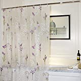 Mooxury Mildew Resistant shower curtain Liner with Hooks for Bathroom,Purple Flower with Butterfly EVA Bathroom Curtains, Water Proof, Antibacterial, Nontoxic,72x72 Inch