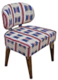 Timbertaste Red Lounge Cafetaria Handloom Fabric Accent Patio Chair Sheesham Wood Natural Finish Legs