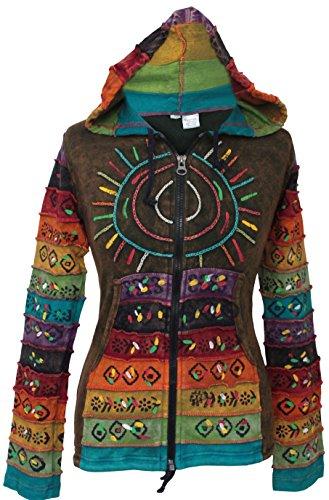 Säure Wäsche mehrfarbig Patchwork Kapuzenpulli, Rainbow Gestreift Hippie Jacke, Boho - Grün, XXX-Large