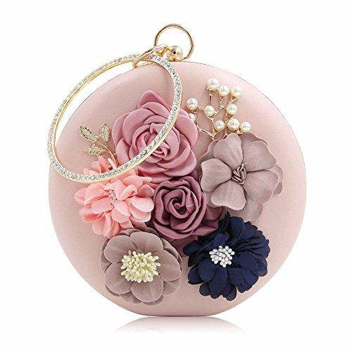 2018 heiße neue runde blume pearl bestickt abend tasche, hohe qualität diamant perle abendkleid,pink (Pearl Abend-handtasche)