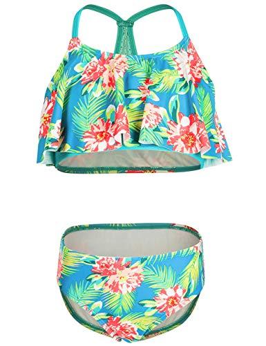 DUSISHIDAN Mädchen Schwimmanzug Zweiteiliger Slinge Bademode, Schlinge Bikini Mädchen Grüne Blumen 164-176 XL(16)
