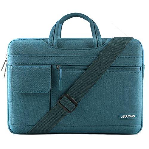 MOSISO Notebooktasche für 13-13,3 Zoll MacBook Pro, MacBook Air, Notebook Computer, Polyester Flapover Art Laptop Schultertasche Sleeve Hülle Umhängetasche mit Griff und Schultergurt, Deep Teal