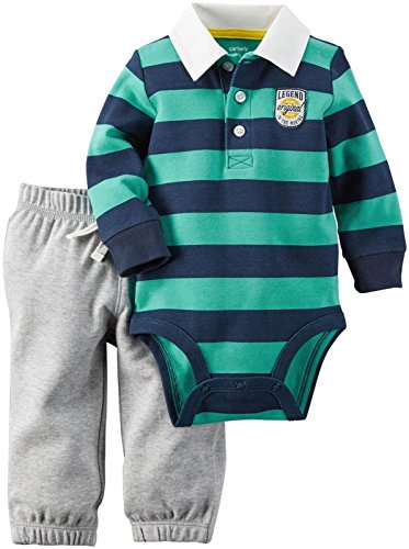 Carter's 2 teilig Langarmbody + Hose Baby Outfit Kombinatiom Polo Junge Boy 0-24 Monate Bestickt (3 Monate, grün/grau) Carters Santa