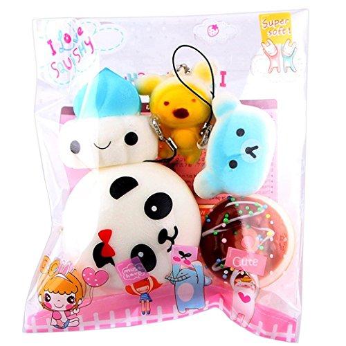 Juguetes compresivos Honestyi 5pcs medio mini suave blando pan juguetes clave colorido Donut perfumado lento Rising juguetes (as show)
