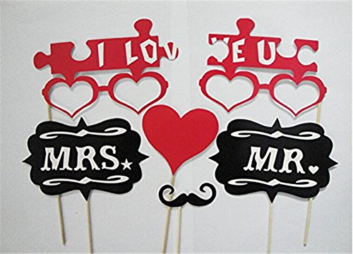 Mr Mrs Rose 18PCS Bunte Props On A Stick Schnurrbart Photo Booth Party Fun Hochzeit Weihnachten Geburtstag Favor