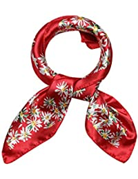 sourcingmap Women's Stain Print Square Scarves Kerchief Neck Scarf Red Floral
