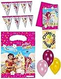 MIA AND ME Dekoset 23 tlg. Partyset Girlande + 6 Partytüten + Luftballons + 6 Einladungen
