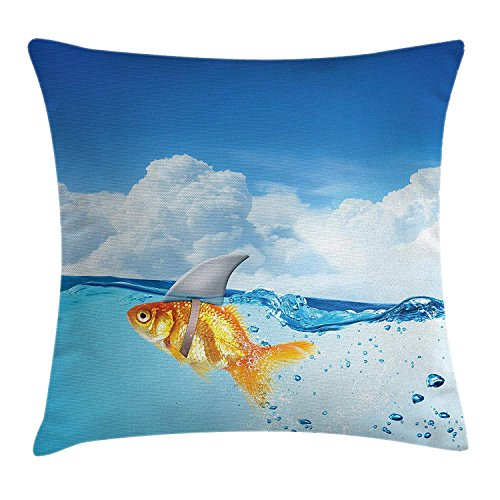 fjfjfdjk Cute Goldfish with Shark Fin on Top of The Water Fake Comic Nature ImageSea Animal Decor Throw Pillow Cushion Cover Decorative Square Accent Pillow Case 18 X 18 Inches Blue Orange