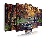 DEKOARTE 156 Cuadro moderno en lienzo, XXL Naturaleza Paisaje otoño en Lago, Multicolor, 5 piezas (200x100x3cm)