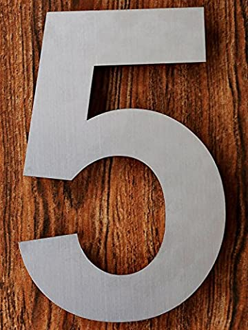 QT Moderne Hausnummer - 15.2 Zentimeter - Gebürsteter Edelstahl (Nummer 5 Fünf), Schwimmendes Aussehen, Einfache Installation und aus massivem hergestellt 304