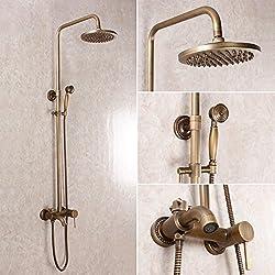baidaimodeng nuevo conjunto de ducha redonda latón Trade moda baño cobre antiguo ducha doble Set Vintage caliente y fría grifo con ascensor