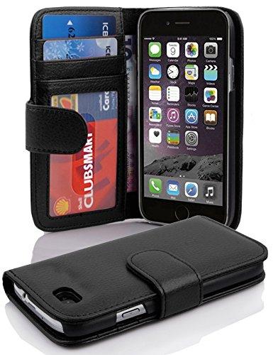Cadorabo - Custodia Book Style Design Portafoglio per Apple iPhone 6 / 6S (4.7 inch) con 3 Vani di Carte - Etui Case Cover Involucro Bumper in BIANCO-FLOREALE NERO-PROFONDO