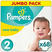 Pampers New Baby - Pañales, talla 2 (3-6 kg), paquete jumbo (1 paquete de 68 unidades)
