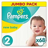 Pampers New Baby Windeln, Gr. 2 (3-6 kg), Jumbopack, 1er Pack (1 x 68 Stück)