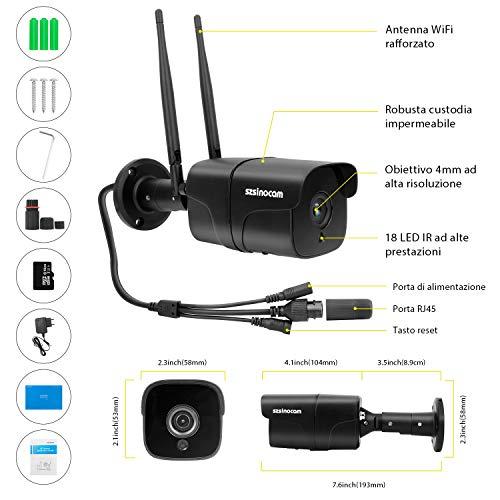 Telecamera Sorveglianza Esterno Wifi, SZSINOCAM videocamere di sorveglianza 1080P HD Con Visione Notturna 30 metri,Rilevazione Del Movimento,Allarme di posta,Audio Bidirezionale,iOS/Android/Windows