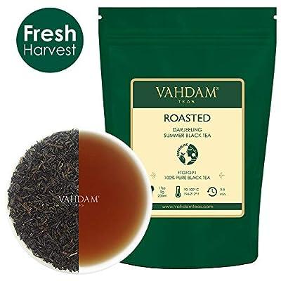VAHDAM, Thé Darjeeling Torréfié (50 tasses) | Thé Darjeeling corsé et aromatique en vrac | 100% de feuilles de thé noir Pure Flush | Brew comme thé chaud, thé glacé ou café au lait | 100g