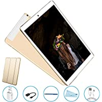 Tablet 10 Pulgadas 3GB+32GB, Octa Core,Android 7.0, Dual SIM, 3G Tableta de función de Llamada , Batería de 8000 mAh, WiFi/ Bluetooth/GPS/OTG, V Mobile , Golden (805-01)
