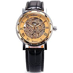AMPM24 Hot Mechanical Analog Skeleton Golden Dial AMPM24 Sport Leather Wrist Watch Gift PMW029