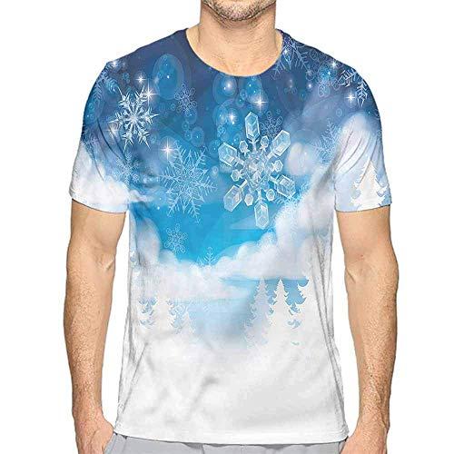 T-Shirt für Männer Winter, Schneeflocke Sonnenbrille Handschuhe Custom T-Shirt, S