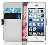 iPhone SE, iPhone 5/5s Lederhülle | JAMMYLIZARD Handyhülle [ Luxuriöse Tasche Series ] Ledertasche Flip Case Cover Hülle mit Kartenfach Leder Schutzhülle, Champagner Weiß