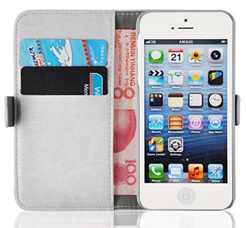 Cover iPhone 5s, JAMMYLIZARD Custodia Luxury Wallet a Libro in Pelle per iPhone 5 e 5s e iPhone SE, BIANCO