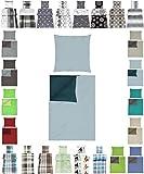 Baumwolle Bettwäsche Renforce 2 Größen viele schöne Designs, 4 tlg. 2x 135x200 cm + 2x 80x80 cm Aqua Hellblau