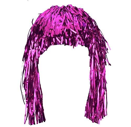 Piccoli monelli parrucca metallizzata donna per carnevale parrucca fili fuxia diavoletta con corna adatta anche per serate disco