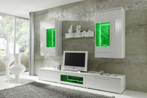 Wohnwand COLOGNE Anbauwand Weiß, Fronten Hochglanz,optional LED-Beleuchtung, Beleuchtung:mit Beleuchtung